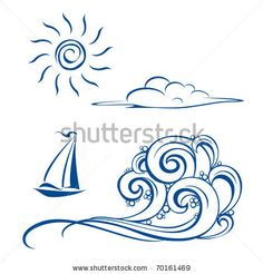 stock vector : Boat waves, clouds and sun. Vector illustration on white
