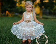 Girls dress, lace flower girl dress, girls dress, girls lace dress, easter dress, brown lace dress, rustic flower girl dress, birthday dress
