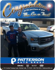 Congratulations to Juan Avalos on his brand new 2014 GMC SIERRA SLT! - From Joe Iarosse at Patterson Auto Center.