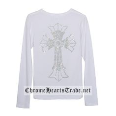 6b143efb1bc White Back Diamonds Big Cross Chrome Hearts Long T-Shirt