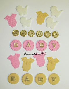 Pink and Gold fondant cupcake toppers for girls, buttons, onesies, carriage (24 of them) on Etsy, $20.00