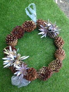 Christmas wreath decorations- ever-lasting wreath.dried leucadendron flower heads with a spray of white and bronze surrounded by HUGE pine cones. Christmas Love, Christmas Wreaths, Pine Cones, Burlap Wreath, Art For Sale, Bronze, Earth, Decorations, Studio