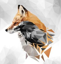 Fox - low poly wall string art, 2019 animal drawings, watercolor art ve art. Animal Paintings, Animal Drawings, Cute Drawings, Drawing Animals, Renard Logo, Fuchs Tattoo, Triangle Art, Polygon Art, Fox Art