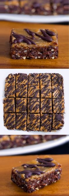 Secretly healthy brownie bars that can be oil-free, sugar-free, raw, vegan, paleo, & gluten-free. Full recipe: http://chocolatecoveredkatie.com/2015/06/01/no-bake-chocolate-peanut-butter-brownie-bars/