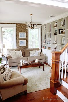 Finding Fall Home Tour – Fall Decorating Ideas - Finding Home  would love this wall of built ins