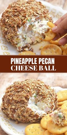 Pineapple Cheese Ball with cream cheese, chopped ham, crushed pineapples, and toasted pecans is a delicious medley of sweet and savory flavors! It's easy to make and a guaranteed party hit! via @lalainespins