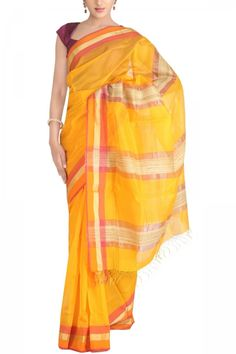 Orange Cotton Silk Maheshwari Saree. India's Best Ethnic Wears & Wares. Shop Online at www.ethnickart.com
