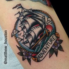 Fun thigh piece also today on the lovely Sophie! Enjoy the adventure. #ship #flowers #traditional #tattoo #adventure