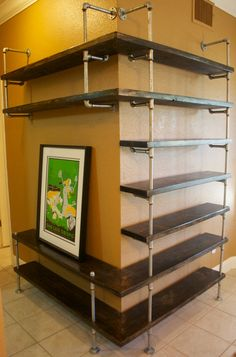Industrial Pipe Shelving Entertainment Unit- Entertaiment center,Industrial Furniture,Bookshelf, Bookcase shelves w/ optional reclaimed wood