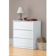White 3 Drawer Dresser Chest Wood Bedroom Furniture Night Stand |