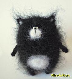 Black Knitted Cat, stuffed cat, softie cat, hand knit animal, softie cat, plush toy cat, amigurumi cats, fuzzy toy cat