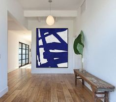 Blue And White Abstract Painting on Canvas, Large Abstract Art, Minimalist Art Hand Made Acrylic Painting.