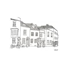 Etsy :: A Row of Odd Little Houses ❤ liked on Polyvore featuring fillers, backgrounds, drawings, doodles, sketches, quotes, text, effects, scribble and borders
