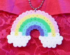 Pastel RAINBOW with CLOUDS // Kawaii Perler Hama Beads // Magnet Keychain Pin Necklace Hair Clip (pick your FINISH)