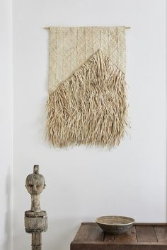 seagrass and palm leaf woven wall hangings petite lily interiors Cane Furniture, Timber Furniture, Photo Wall Hanging, Woven Wall Hanging, Woven Chair, Natural Home Decor, Rustic Walls, Textiles, Removable Wall