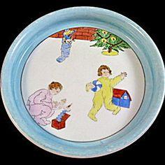 Noritake 1930s Baby Plate, Christmas Time.