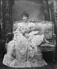 Duchess of Marlborough (Consuelo Vanderbilt) and Lord Ivor Churchill (probably in a christening gown) and the infant Marquess of Blandford, 1899.