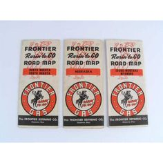 """These are vintage Frontier Gas """"Rarin To Go"""" gas station road maps ..."""