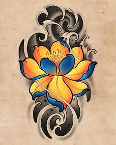 Japanese Lotus, Japanese Flower Tattoo, Japanese Dragon Tattoos, Japanese Tattoo Designs, Japanese Sleeve Tattoos, Japanese Flowers, Lotus Flower Tattoo Design, Lotus Tattoo Design, Lotus Flower Tattoos