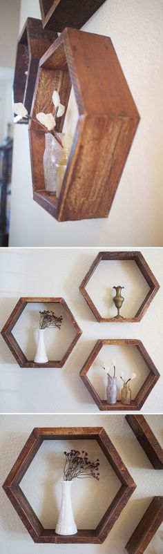 Set of 3 Wooden Hexagon Shelves  Handmade with wood reclaimed from a vintage piano. Remnants of glue, lacquer finish, and antique stain remain on the wood imparting a charming, rustic look. These shelves work well alone or in a honeycomb grouping.  DenneheyDesign.com