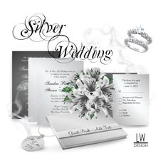 """""""Silver Wedding Invitation Suite"""" by kashmier ❤ liked on Polyvore featuring art"""