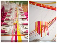 ribbon treatments - colorful - floor supported for easy in/out Ribbon Chandelier, Wedding Decorations, Table Decorations, Photo Booth, Wedding Inspiration, Wedding Ideas, Wedding Colors, Centerpieces, Blue And White