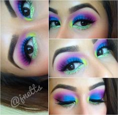 Neon Eye Makeup w/ glitter for EDC (Electric Daisy Carnival)