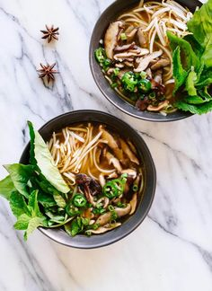 This meatless pho is full of flavor, thanks to spices, herbs and sautéed shiitake mushrooms! It's fun to make, too. cookieandkate.com