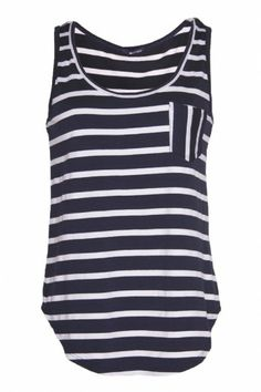 This classic Stripe Boyfriend Tank introduces a cool and hip style to your wardrobe. The super soft tank has a laid back feel with a baseball hem and a small pocket. Pair it with jean shorts for the perfect relaxed weekend look or dress it up by pairing with dark denim and a pair of booties. $46  www.bevello.com