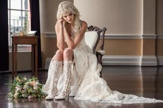 LOVE these lace bridal boots!