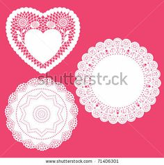 Set for round and heart shape lace doily. Vector illustration. - stock vector