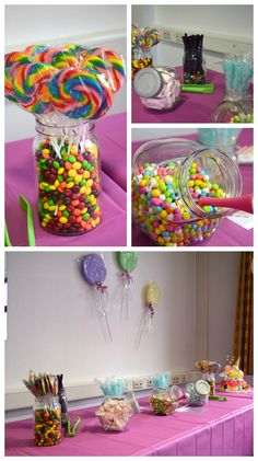 Candy Land Birthday Party candy bar and sweets table