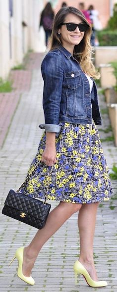 Sheinside Blue And Yellow Lovely Floral A-skirt by Necklace Of Pearls