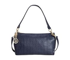 Tommy Hilfiger Sally Debossed Nappa Leather Mini Convertible Shoulder Bag (Navy) ** Details can be found by clicking on the image.