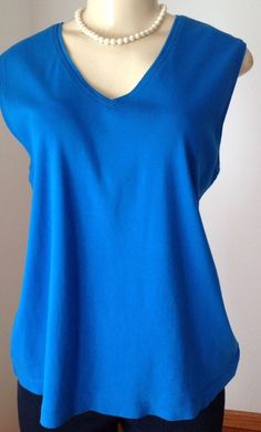 Additions by Chico's Sz 3 Large Blue V Neck Tank Top 100 Cotton Casual GUC | eBay