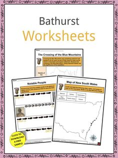 This is a fantastic bundle which includes everything you need to know about the Bathurst across 21 in-depth pages. These are ready-to-use Bathurst worksheets that are perfect for teaching students about the Bathurst which is a city located in New South Wales, Australia. It is the oldest inland settlement in Australia. Founded in 1815, it has seen rapid population growth throughout its colorful history. Curriculum, Homeschool, Geography Worksheets, Cathedral City, Facts For Kids, New South, British Army, South Wales, Sign I