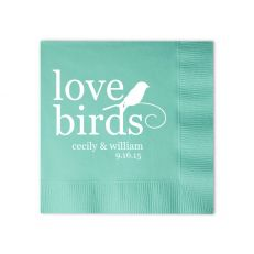 Custom Cocktail Napkins, Love Birds with perched bird. Tiffany Blue with Matte White. Click here to start personalizing http://www.foryourparty.com/products/editor/6556 $32 for 100