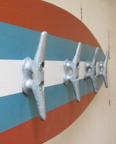 Surfboard Coat Rack 28 Orange and Turquoise via Etsy