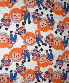 Raggedy Ann fabric, pre-quilted, 40 by 41 inches, bright images, white, blue, orange, ready to finish, bedding, re-purpose, vintage, toddler