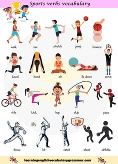 Sport and exercise actions vocabulary in english englisch vokabeln, englisc English Teaching Materials, Learning English For Kids, Kids English, English Language Learning, English Study, Teaching English, English English, English Games, German Language