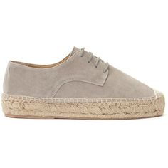 Mint Velvet Liandra Lace Up Flatform Espadrilles, Grey (£89) ❤ liked on Polyvore featuring shoes, sandals, grey sandals, gray sandals, grey flat sandals, lace up sandals and flatform sandals