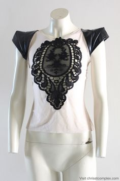 T-shirt Gothic Short Sleeve Embroidery Lace Patch Stretch Goth Steampunk Unique Fashion - SPECIAL ETSY PRICE. $119.00, via Etsy.