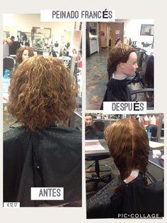 Antes y después de de hacer un peinado francés utilice just brilliant para darle un acabado perfecto.