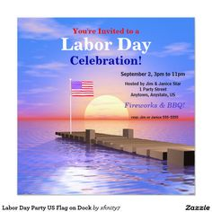 #LaborDay Party US Flag on Dock 5.25x5.25 Square Paper Invitation Card