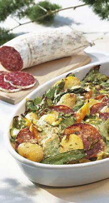 Frühlingsgemüse-Salami-Gratin mit Kartoffeln