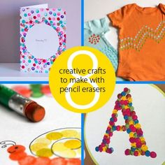 8 creative crafts to make with pencil erasers  -Repinned by Totetude.com