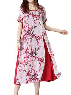 Women Floral Printed Loose Split Hem Chiffon Short Sleeve Dresses