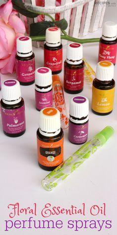 4 easy recipes for natural Perfume Sprays with pure essential oils from RecipeswithEssentialOils.com