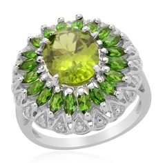 Liquidation Channel | Hebei Peridot, Russian Diopside, and Diamond Ring in Platinum Overlay Sterling Silver (Nickel Free)