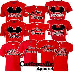 Mickey Mouse Birthday Shirt, Mickey Shirt, Birthday Shirts, Dad Baby, Baby Sister, Mom And Baby, Disney Family Outfits, Big Sister Outfits, Dad And Son Shirts